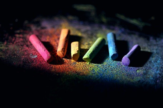 Multicolored chalk pictured a resin color dying options.